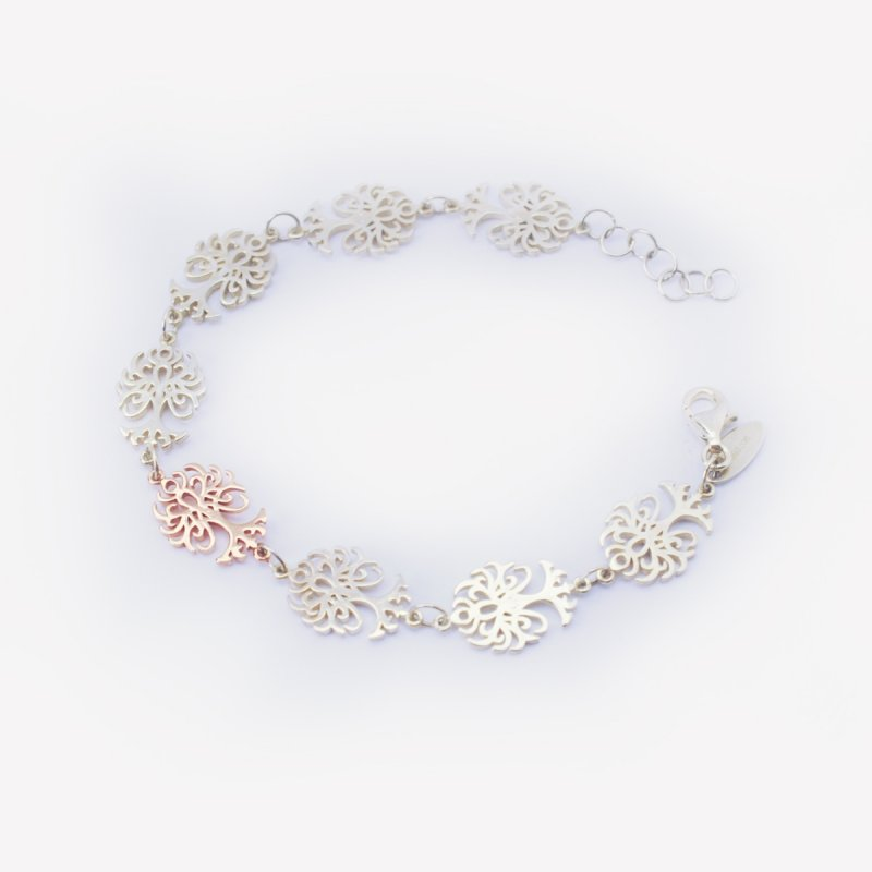 silver 925 bracelet with a 9kt pink gold tree