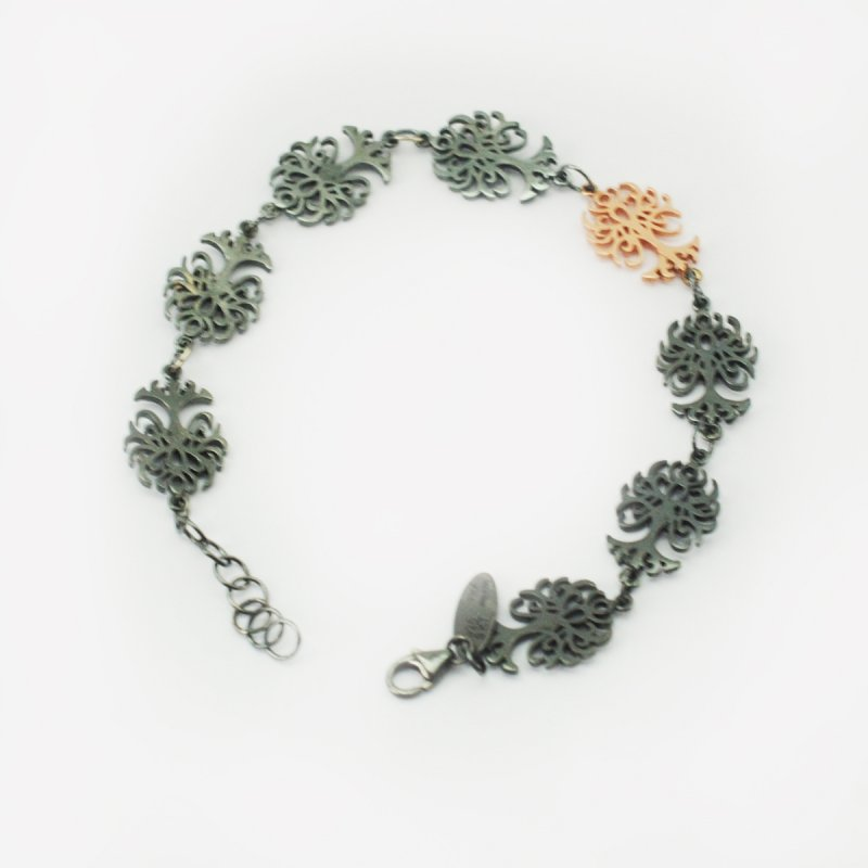 blackened silver 925 bracelet with a 9kt pink gold tree